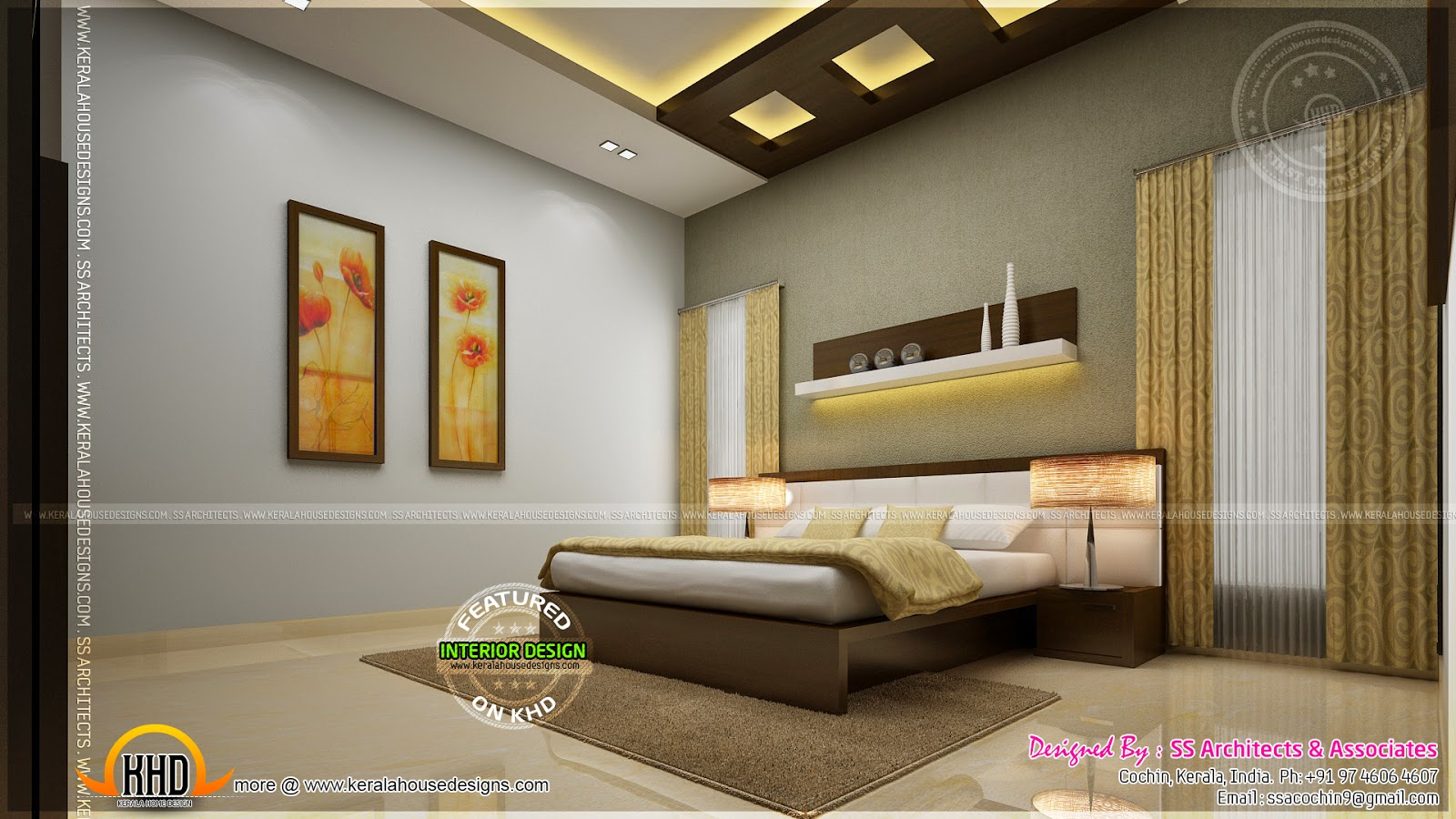 Awesome master bedroom interior kerala home design and for Designs of master bedroom