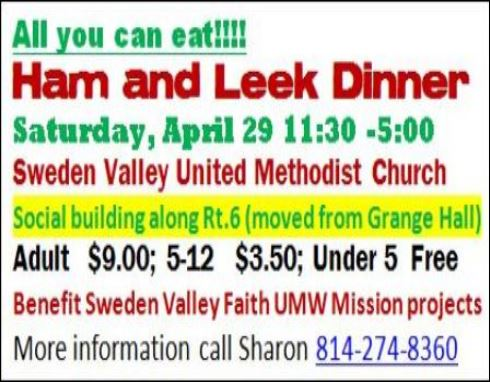 4-29 Ham & Leek Dinner, Sweden Valley UMC