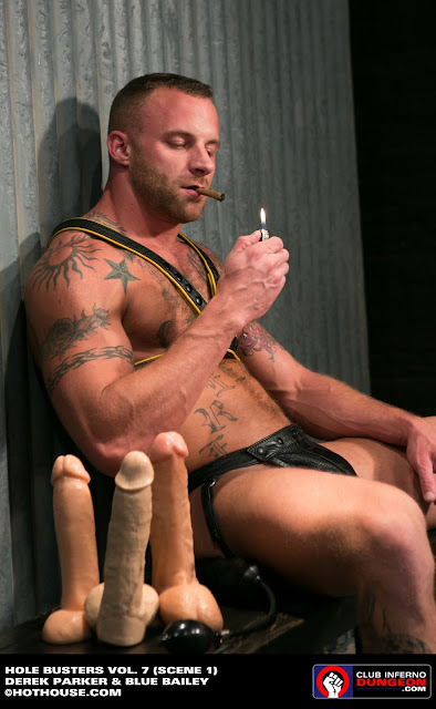 men with cigar and anal toys