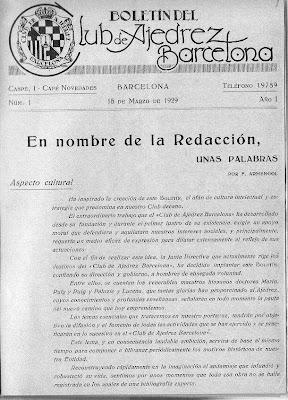 Boletín del Club Ajedrez Barcelona, 15/3/1929