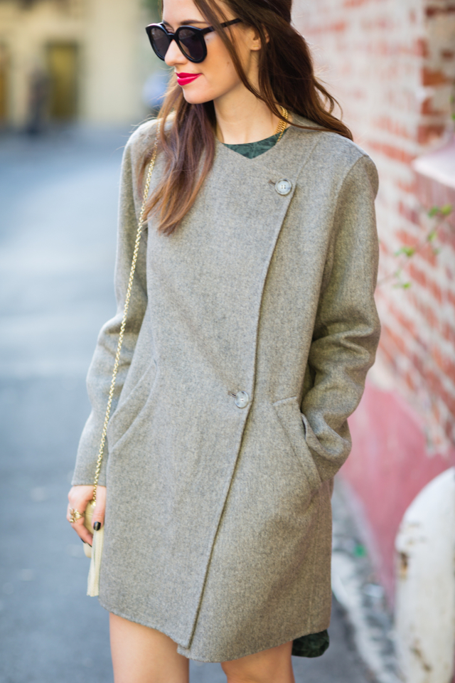 Theory gray wool coat on M Loves M @marmar