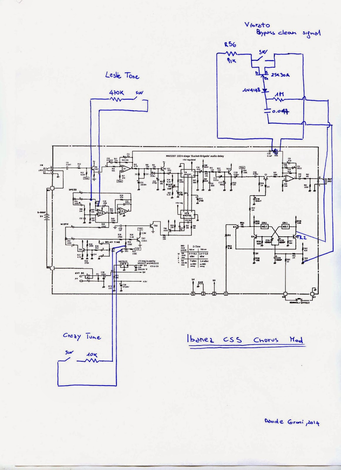 Davide Gironi Lm358 Op Amp Block Diagram Http Worldtechnicalblogspotcom 2012 01 Leslie Tone And Crazy Tune Mods Are Simply Uses Two 1 4 Resistors You Can Play Around With Values Here To Experiment Sounds