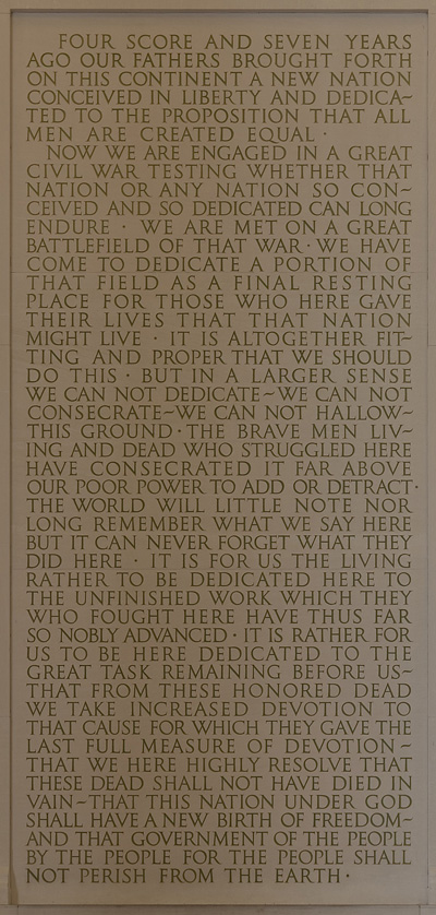 fox the poet an analysis of abraham lincoln s poetic gettysburg  the irony is that gettysburg address is engraved in stone on the south wall of the lincoln memorial in washington