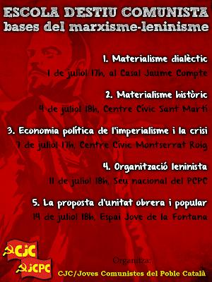 [CJC-Joves Comunistes del Poble Català]  Escuela de verano Comunista: Las bases del marxismo-leninismo Cartelciclo