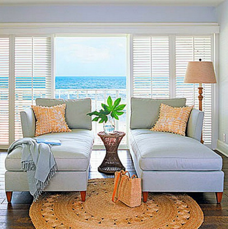 coastal living room with view