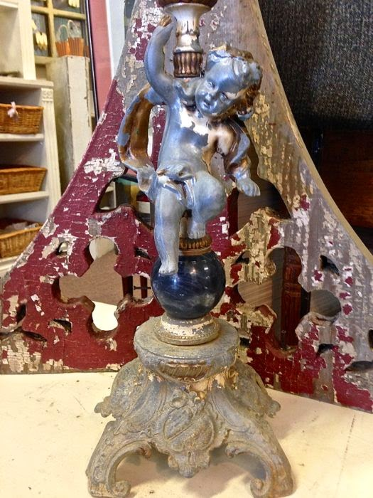 Antique French cherub lamp at The Pickled Hutch