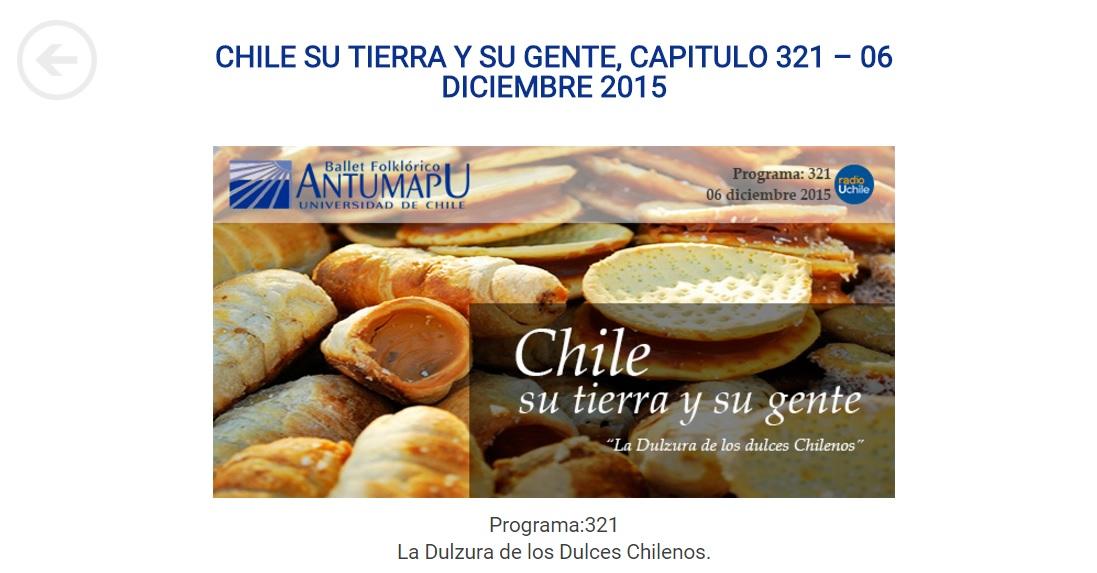 Radio U de Chile Nuestra Tierra Nuestra Gente. Capitulo Dulces chilenos. min 22