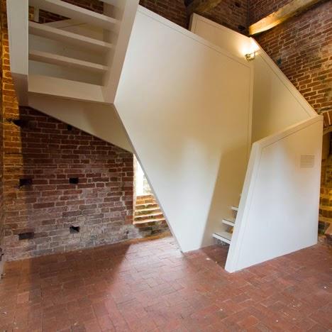 unique wooden stairs in Dutch church