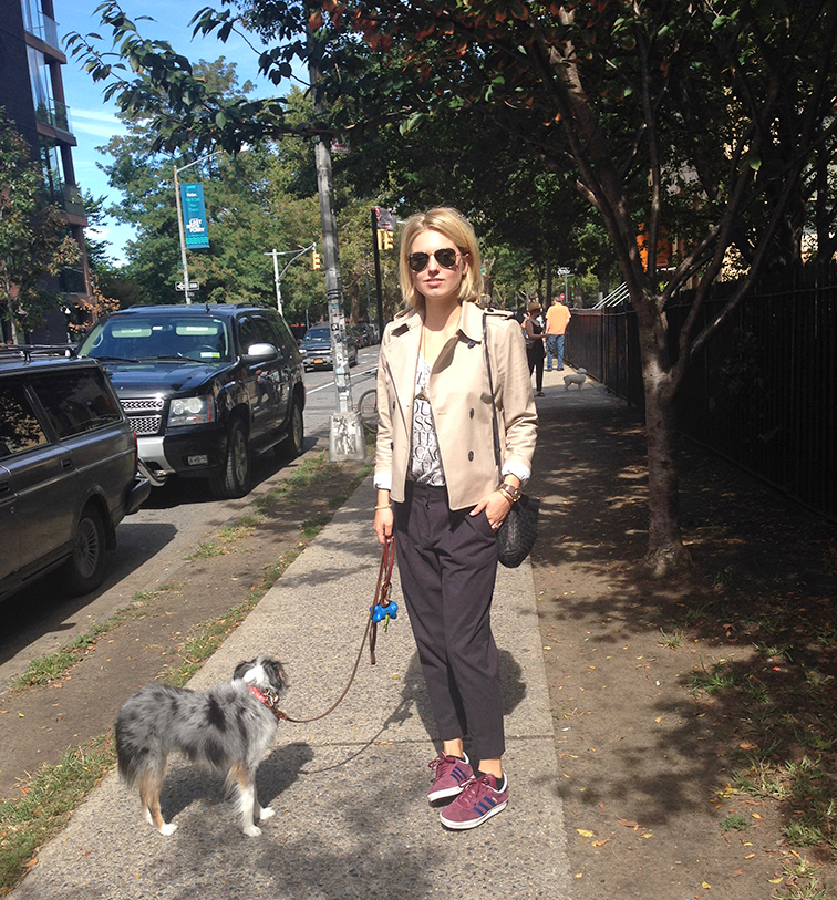 Street style, Williamsburg Brooklyn, Wallyface, miniature Australian Shepherd, Ann Taylor short trench, Tibi cropped pants, Adidas sneakers