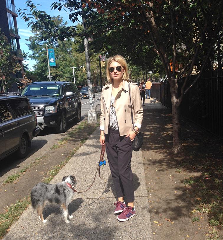 Street style, Williamsburg Brooklyn, Wallyface, miniature Australian Shepherd, Ann Taylor short trench, Tibi cropped pants, Adidas sneakers