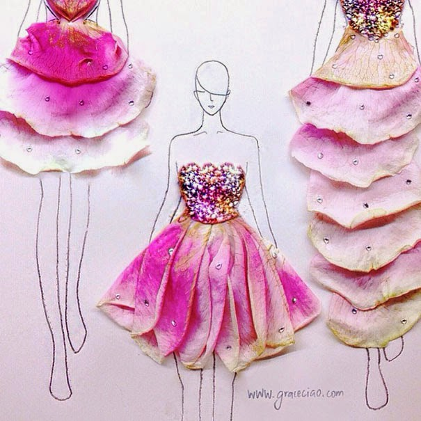 Clever Fashion Illustrations With Real Flower Petals As Clothes