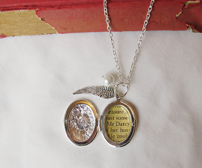 image two cheeky monkeys literature locket necklace silver wing charm character name fictional Mr Darcy