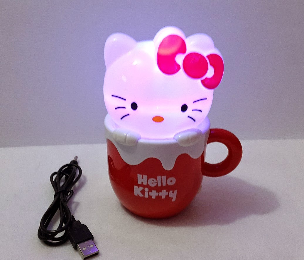Gambar lampu tidur hello kitty berbentuk gelas