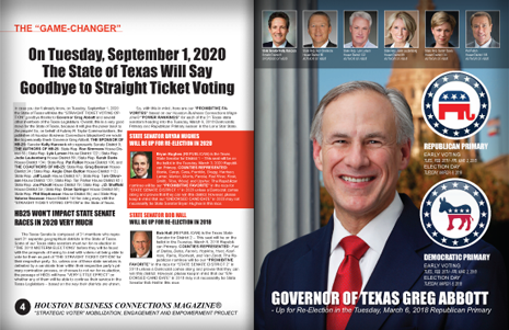 "PAGES 4 AND 5 - HOUSTON BUSINESS CONNECTIONS MAGAZINE© ""STRATEGIC VOTER"" MOBILIZATION CAMPAIGN"