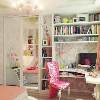 Bespoke White Corner Desk Pink Chair by Ruslan Rusu