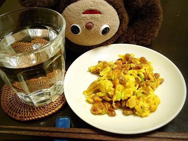 納豆と梅干しの玉子焼き