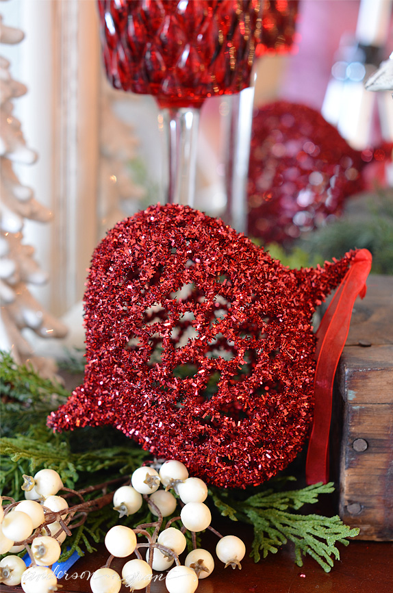 Giant red tinsel Christmas ornament | www.andersonandgrant.com