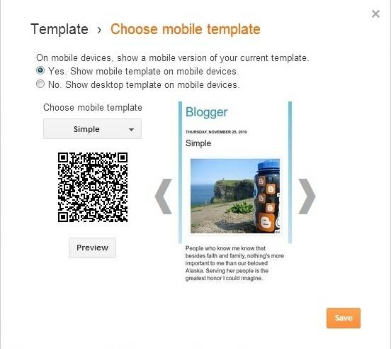 Dialog Box of Blogger mobile version setting