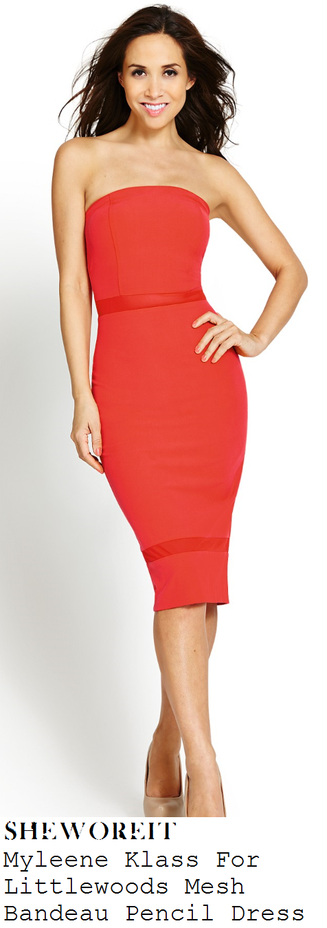 myleene-klass-red-strapless-mesh-stripe-detail-bandeau-bodycon-pencil-dress-cannes