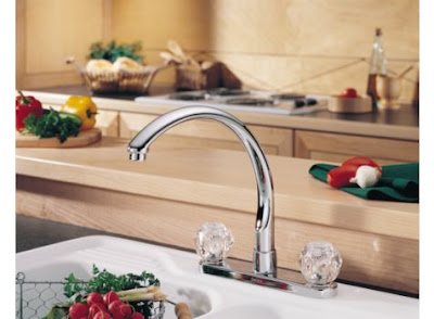Delta 2176 Waterfall Two Handle Kitchen Faucet With Clear Knob Handles