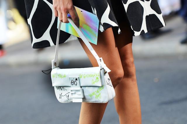 fashion week streetstyle, fendi baguette bag, giovanna battaglia, diy, fashion diy