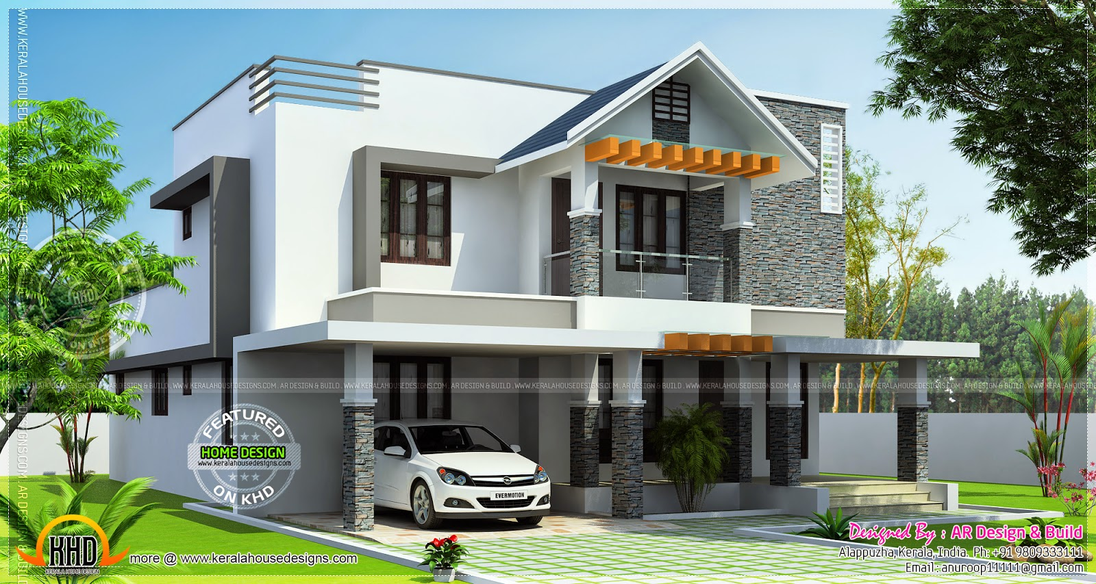 Modern 2650 square feet home kerala home design and for Modern square house