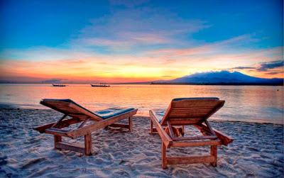 sunset, gili manu, wisata lombok, pantai, matahari terbenam