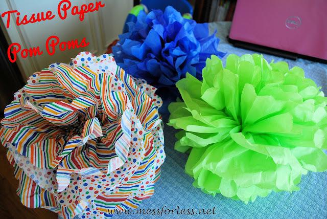 tissue paper pom poms, tissue paper balls