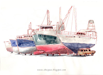 Watercolour & pen drawing of sailing boats on dry land