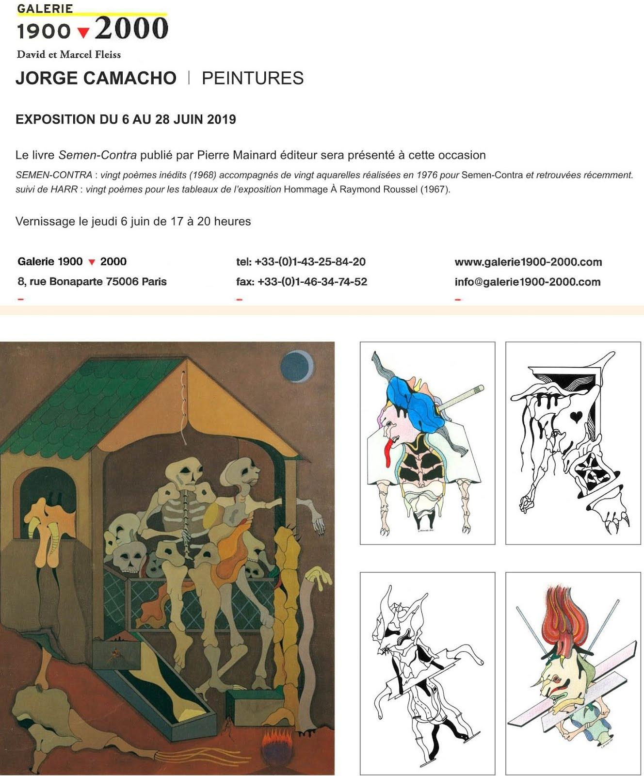 JORGE CAMACHO, EXPOSITION PEINTURES, GALERIE 1900-2000, PARIS 6E