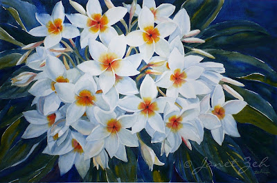White Plumeria - one of my tropical flower paintings