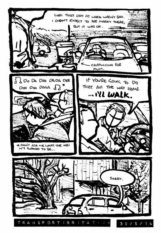 Comic about getting a lift home and being annoyed at the driver humming