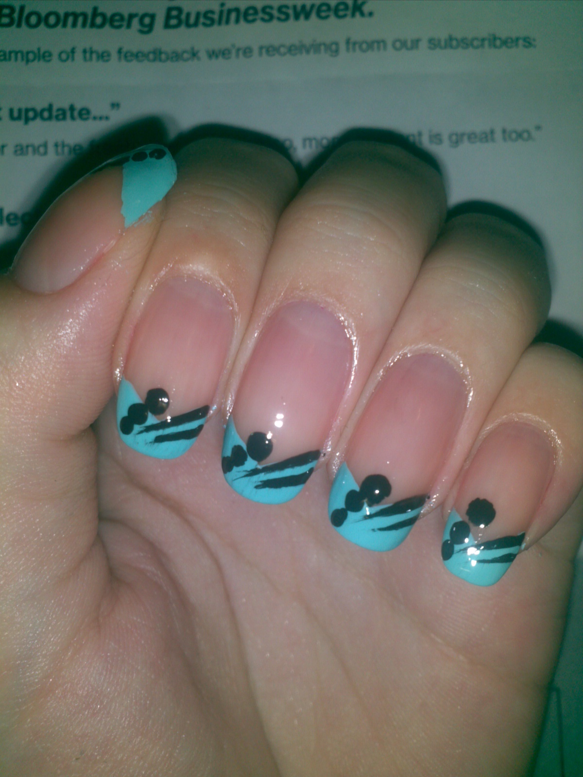 Juicy Nails: Nail Art: French Tip in Gorgeous Blue with Abstract Lines