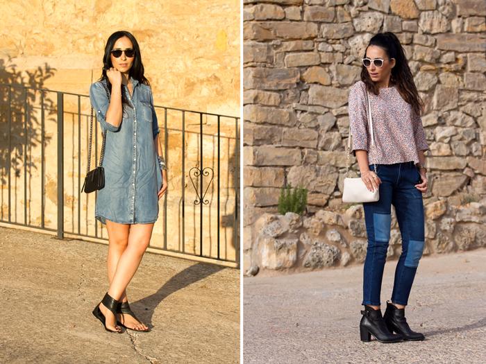 blogger con outfits reales con zapato comodo y tejido denim