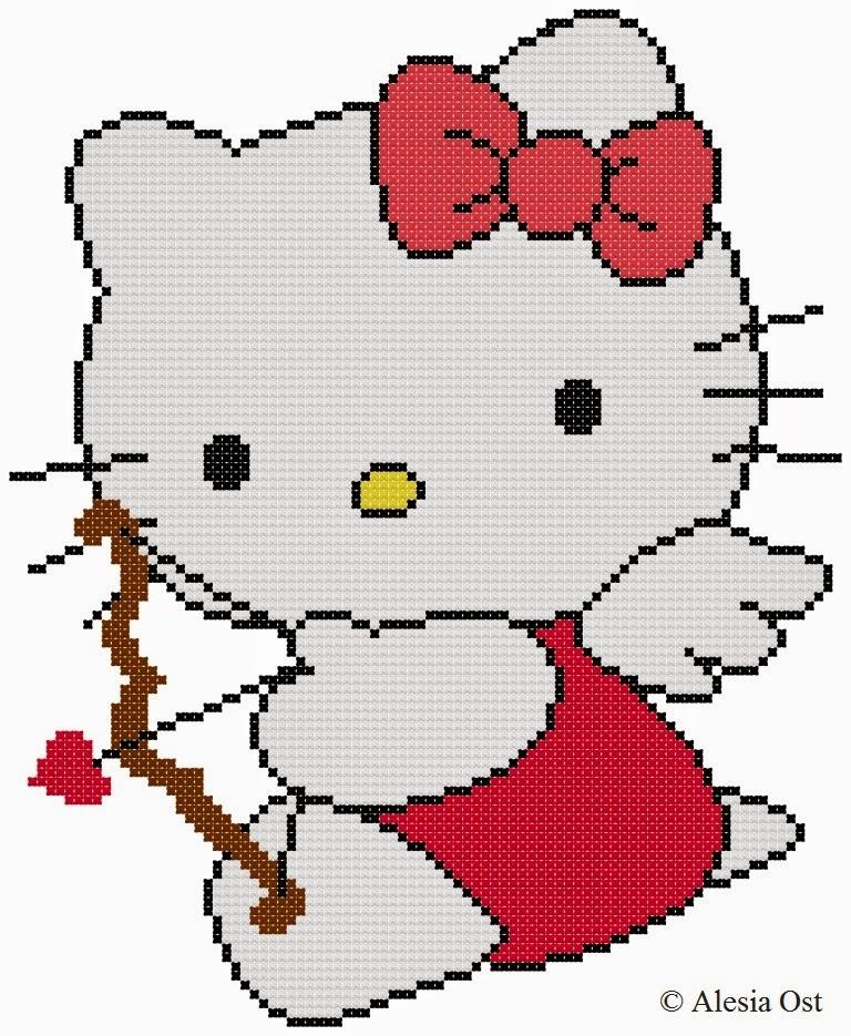 Free cross-stitch patterns, Kitty Cupid, Hello Kitty, cartoon, cat, cupid, anime, Japanese, animal, holiday, Valentine's day, cross-stitch, back stitch, cross-stitch scheme, free pattern, x-stitchmagic.blogspot.it, вышивка крестиком, бесплатная схема, punto croce, schemi punto croce gratis, punto de cruz, DMC, blocks, symbols