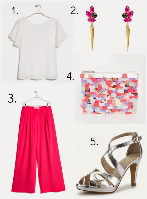 Look oufit estilismo boda evento pantalon palazzo invitada sandalias plata rosa clutch asos lentejuelas