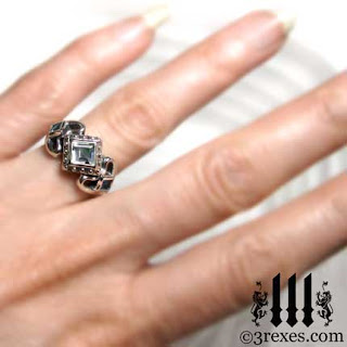 silver gothic wedding Ring model