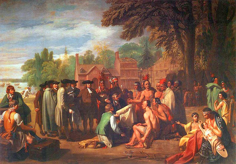 """The Treaty of Penn with the Indians"" by Benjamin West , Okres ochronny na czarownice, Carmaniola"