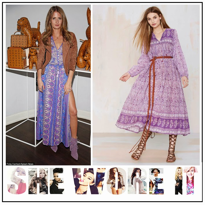 All Over Print, and V-Neck Detail, Billowing Skirt, Blue Premonition, Celebrity Fashion, Celebrity Style, Coachella, Dress, Floral Paisley Print, Lilac, Millie Mackintosh, Nasty Gal, Purple, White,