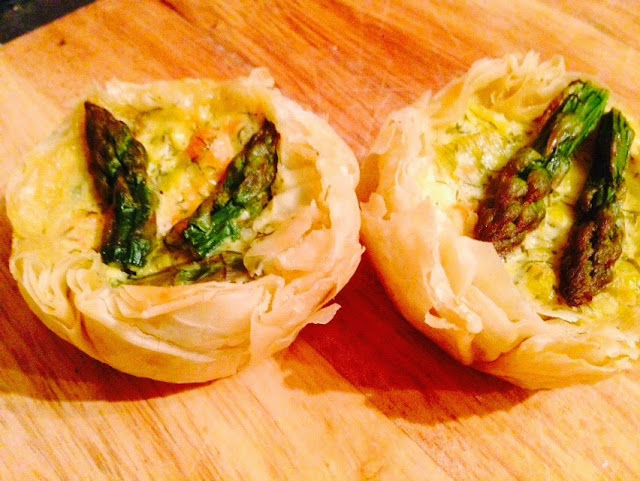 Smoked salmon and asparagus filo tartlets