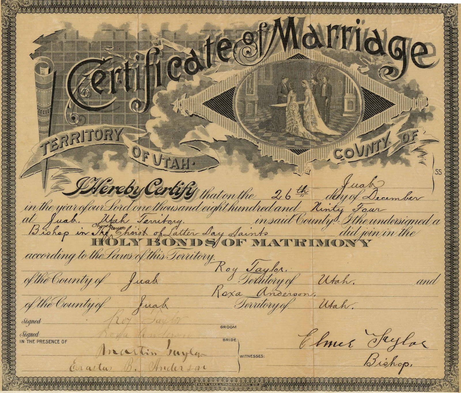 Marriage Records: LeRoy And Vera Huber: Roy Taylor & Roxa Anderson
