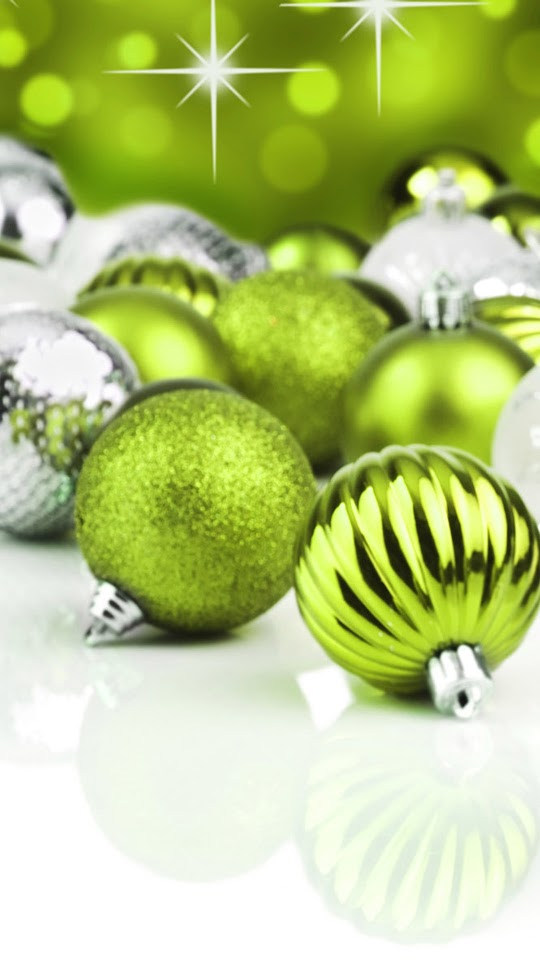 Green Christmas Balls Decorations  Galaxy Note HD Wallpaper