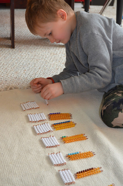 Montessori Multiplication Bead Bars:  Table of Sevens