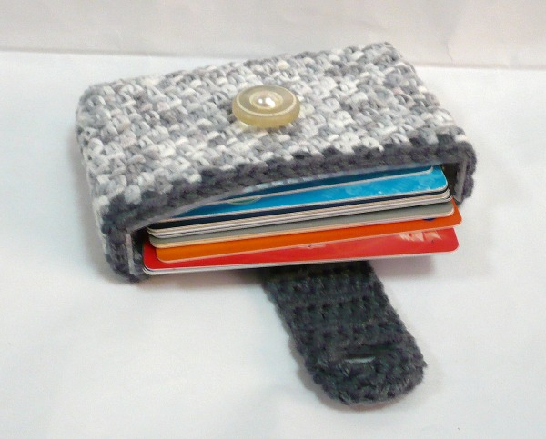 Nicely created for you crocheted business card credit card holder crocheted business card credit card holder in variegated grey yarn colourmoves