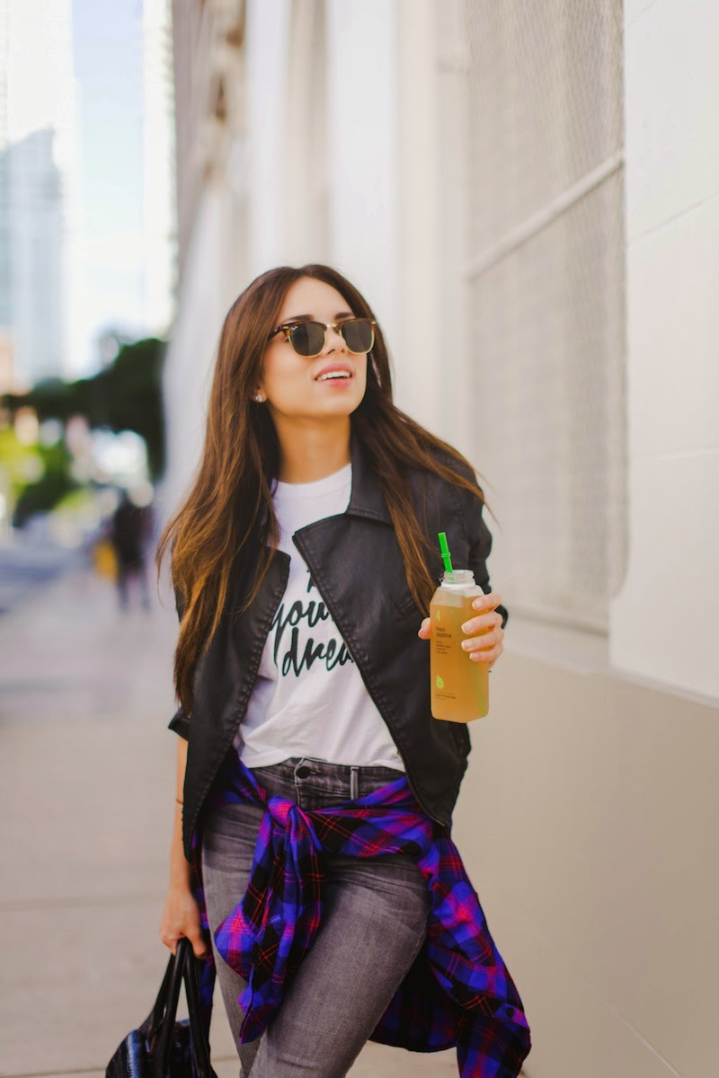 fashion, miami fashion, miami fashion blogger, fashion bloggers, daniela ramirez, nany's klozet, juiice detox, plaid shirt, grey jeans, leather jacket, blog your dreams