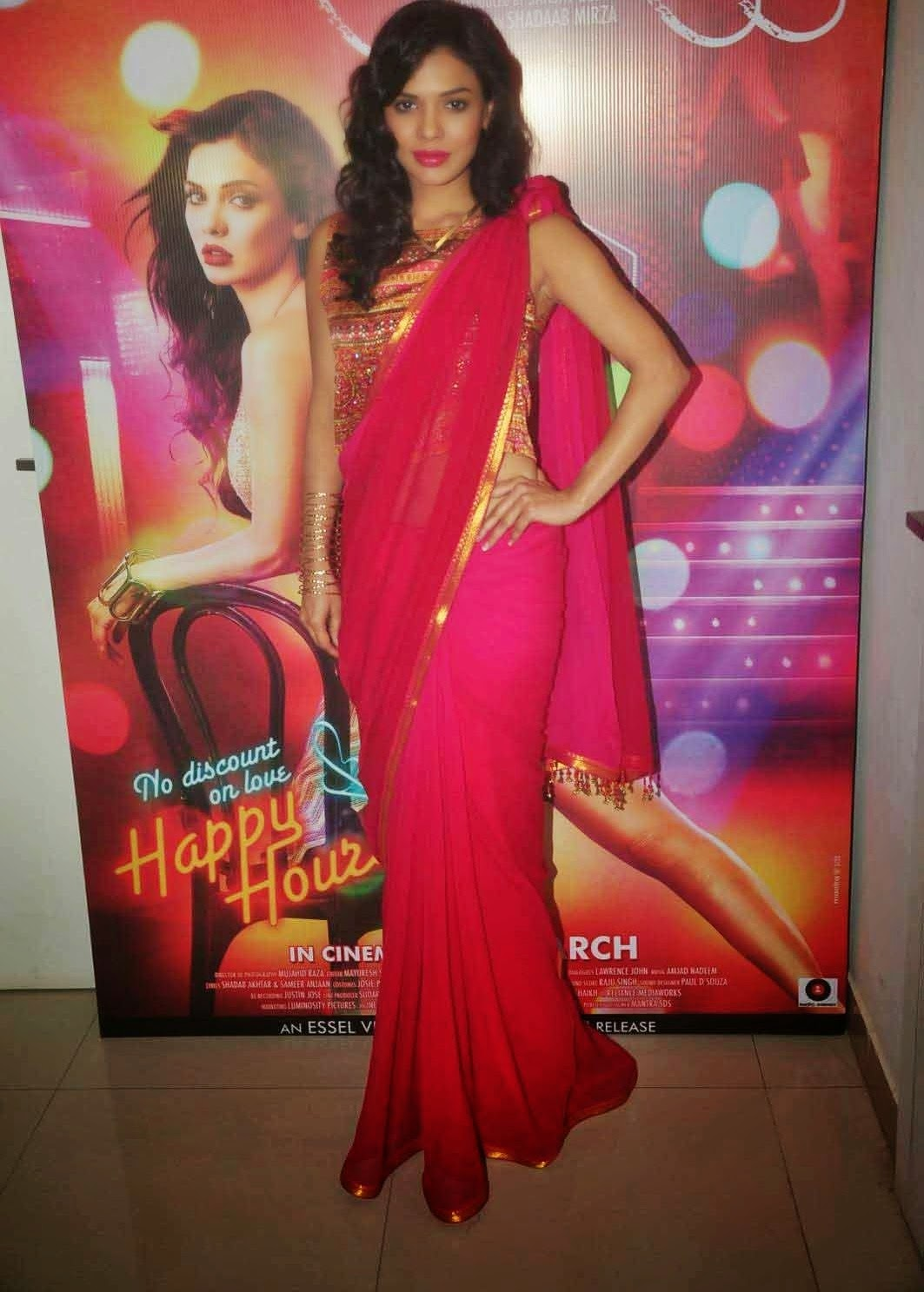 Sara Loren In Saree From Barkhaa Hindi Movie Promotion Stills