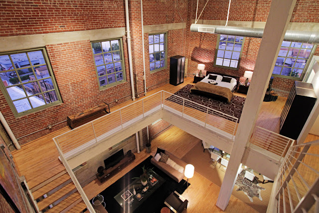 Photo of incredible penthouse interiors as seen from the last floor looking down