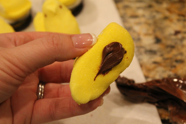 Oreos topped with Peeps and Nutella - perfect quick Easter treat!