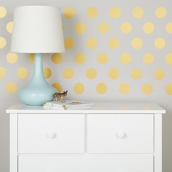 gold polka dot wall treatment