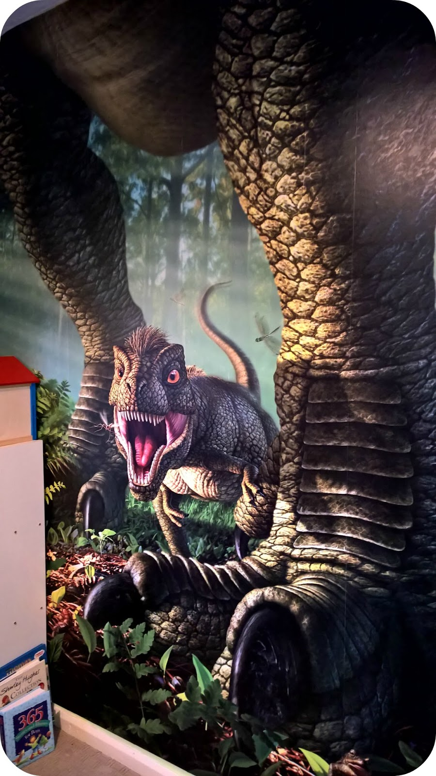 Bud's Dinosaur Room Applying Wallsauce Wee Rex Mural